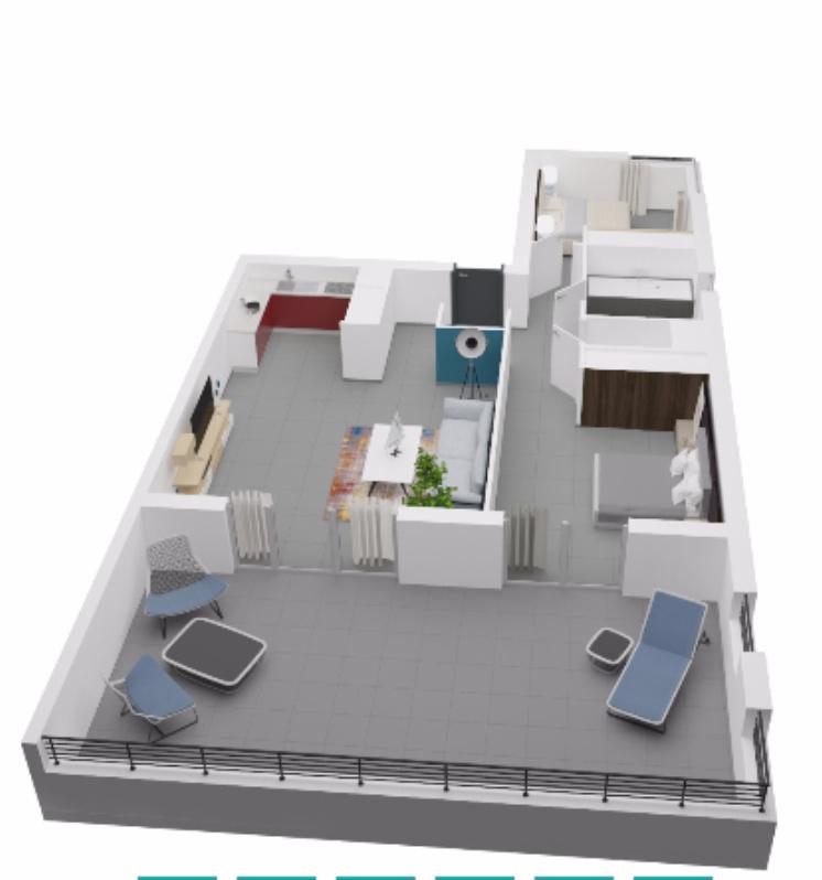 La residence du fort porticcio Chambre T3  plan 3D appartement programme neuf