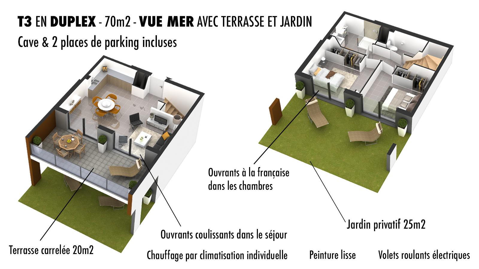 appartement vue mer poritccio plan 3D duplex