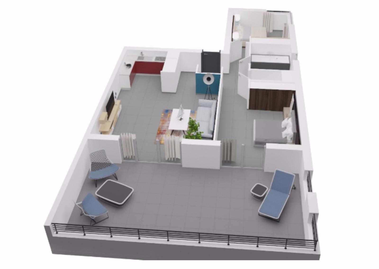 La residence du fort porticcio T3  appartement programme neuf plan 3D